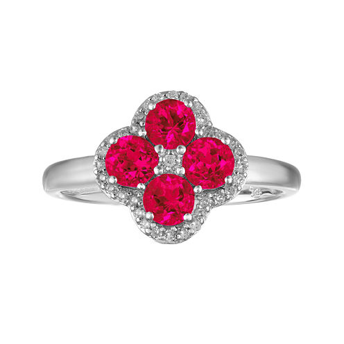 Lab-Created Ruby and White Topaz Flower Sterling Silver Ring