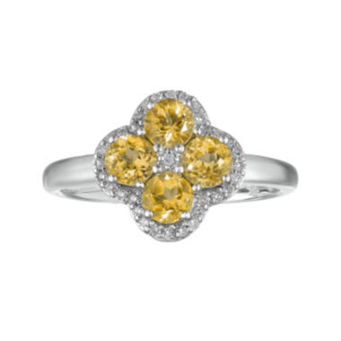 jcpenney.com | Genuine Citrine and White Topaz Flower Sterling Silver Ring