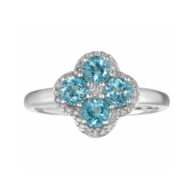 jcpenney.com | Genuine Blue Topaz and White Topaz Flower Sterling Silver Ring