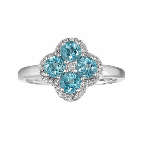 Genuine Blue Topaz and White Topaz Flower Sterling Silver Ring