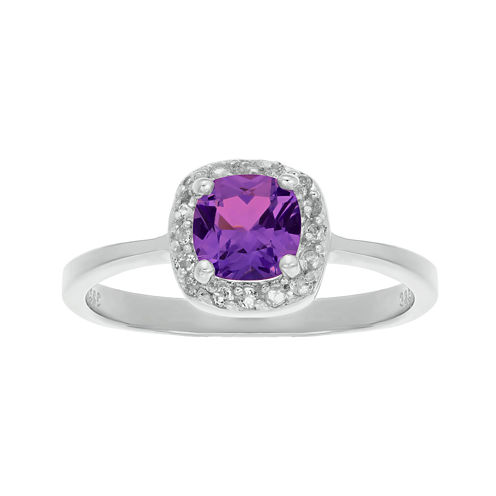 Cushion-Cut Genuine Amethyst and White Topaz Sterling Silver Ring