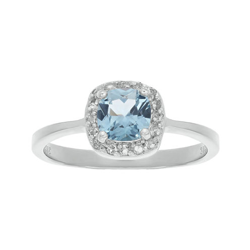 Cushion-Cut Lab-Created Aquamarine and Genuine White Topaz Sterling Silver Ring