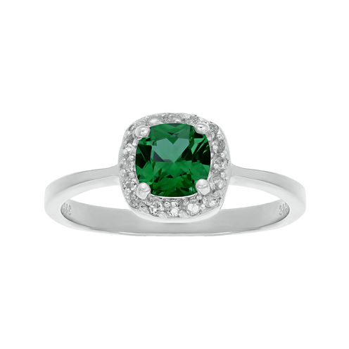 Cushion-Cut Lab-Created Emerald and Genuine White Topaz Sterling Silver Ring