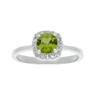 jcpenney.com | Cushion-Cut Genuine Peridot and White Topaz Sterling Silver Ring