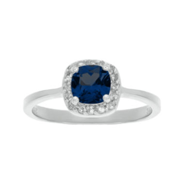 jcpenney.com | Cushion-Cut Lab-Created Sapphire and Genuine White Topaz Sterling Silver Ring