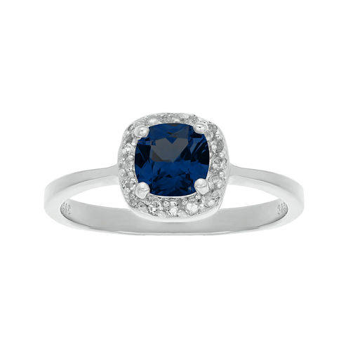 Cushion-Cut Lab-Created Sapphire and Genuine White Topaz Sterling Silver Ring