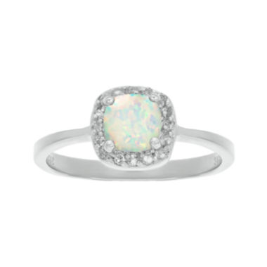 cushion cut lab created opal and genuine white topaz