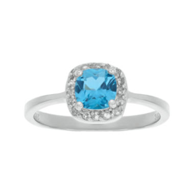 jcpenney.com | Cushion-Cut Genuine Blue and White Topaz Sterling Silver Ring