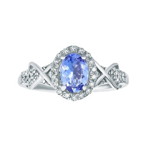 1/4 CT. T.W. Diamond and Genuine Tanzanite 10K White Gold Ring