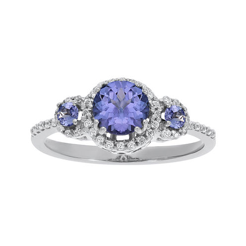 1/5 CT. T.W. Diamond and Genuine Tanzanite 10K White Gold 3-Stone Ring