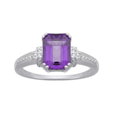 jcpenney.com | Genuine Amethyst and Diamond-Accent 10K White Gold Ring