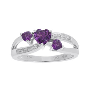 jcpenney.com | Genuine Amethyst and Diamond-Accent Sterling Silver Triple-Heart Ring