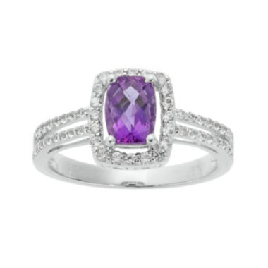 jcpenney.com | Cushion-Cut Genuine Amethyst and White Sapphire Sterling Silver Split-Band Ring