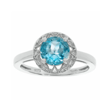genuine blue topaz filigree sterling silver ring jcpenney