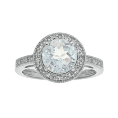 jcpenney.com | Genuine White Topaz and Lab-Created White Sapphire Round Sterling Silver Ring