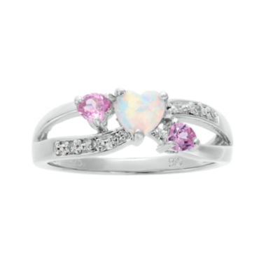 jcpenney.com | Lab-Created Opal and Pink Sapphire Sterling Silver Triple-Heart Ring