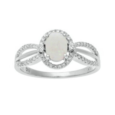 jcpenney.com | 1/5 CT. T.W. Diamond and Genuine Opal 10K White Gold Oval Ring