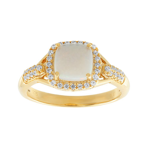 1/4 CT. T.W. Diamond and Lab-Created Opal 10K Yellow Gold Ring