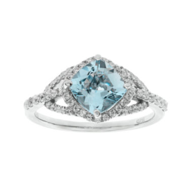 jcpenney.com | 1/3 CT. T.W. Diamond and Genuine Aquamarine 10K White Gold Ring