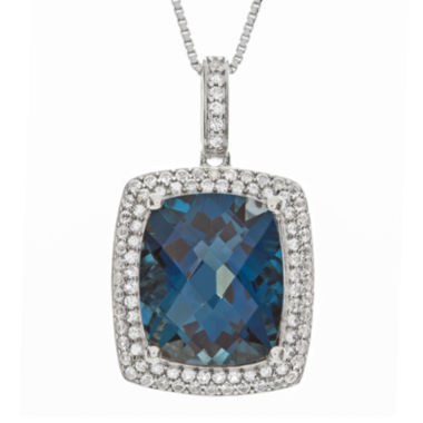 jcpenney.com | Genuine London Blue Topaz and Lab-Created White Sapphire Pendant Necklace