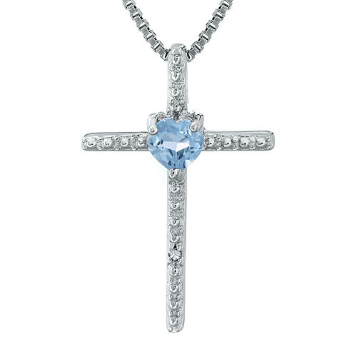 Lab-Created Aquamarine and Diamond-Accent Sterling Silver Cross and Heart Pendant Necklace