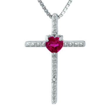jcpenney.com | Lab-Created Ruby and Diamond-Accent Sterling Silver Cross and Heart Pendant Necklace