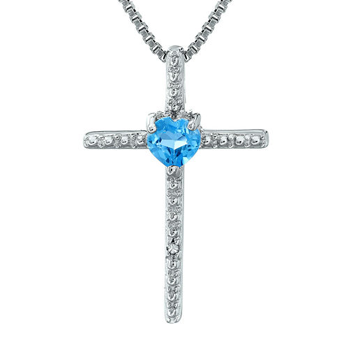 Genuine Blue Topaz and Diamond-Accent Sterling Silver Cross and Heart Pendant Necklace