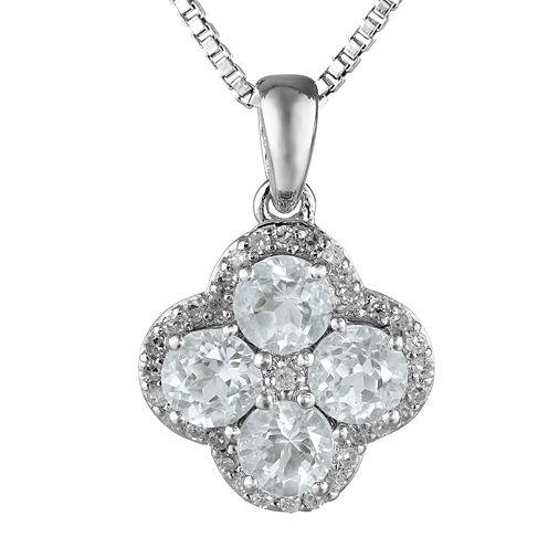 Genuine White Topaz Flower Sterling Silver Pendant Necklace