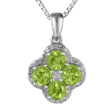 jcpenney.com | Genuine Peridot and White Topaz Flower Sterling Silver Pendant Necklace