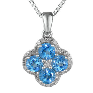 jcpenney.com | Genuine Blue and White Topaz Flower Sterling Silver Pendant Necklace