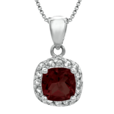 jcpenney.com | Cushion-Cut Genuine Garnet and White Topaz Sterling Silver Pendant Necklace