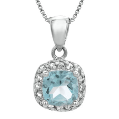 jcpenney.com | Cushion-Cut Lab-Created Aquamarine and Genuine White Topaz Sterling Silver Pendant Necklace
