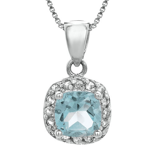 Cushion-Cut Lab-Created Aquamarine and Genuine White Topaz Sterling Silver Pendant Necklace