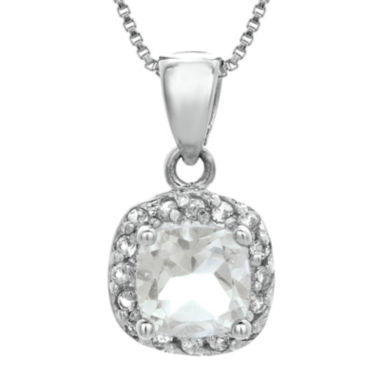 jcpenney.com | Cushion-Cut Genuine White Topaz Sterling Silver Pendant Necklace