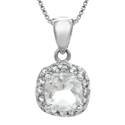 Cushion-Cut Genuine White Topaz Sterling Silver Pendant Necklace