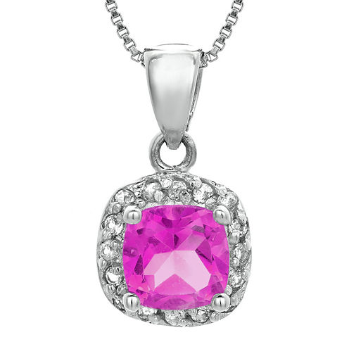 Cushion-Cut Lab-Created Pink Sapphire and Genuine White Topaz Sterling Silver Pendant Necklace