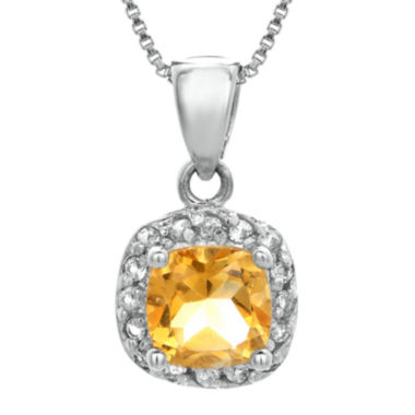 jcpenney.com | Cushion-Cut Genuine Citrine and White Topaz Sterling Silver Pendant Necklace