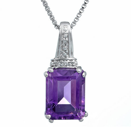 Genuine Amethyst and Diamond-Accent 10K White Gold Pendant Necklace