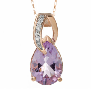 jcpenney.com | Genuine Amethyst and Diamond-Accent 10K Rose Gold Drop Pendant Necklace