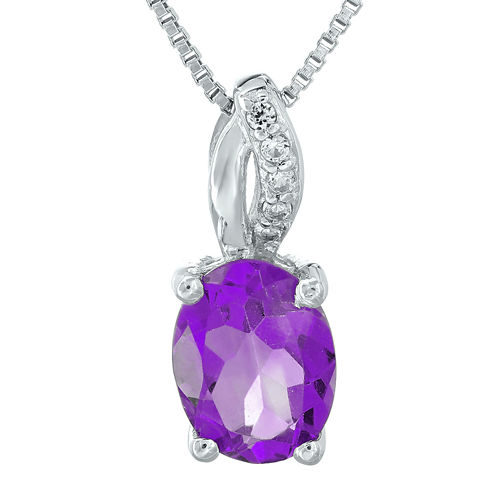 Genuine Amethyst and Diamond-Accent Sterling Silver Pendant Necklace