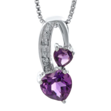jcpenney.com | Genuine Amethyst and Diamond-Accent Sterling Silver Double-Heart Pendant Necklace