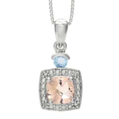 jcpenney.com | Genuine Morganite, Aquamarine and Diamond-Accent Sterling Silver Pendant Necklace