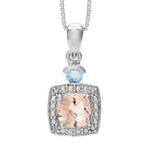 Genuine Morganite, Aquamarine and Diamond-Accent Sterling Silver Pendant Necklace