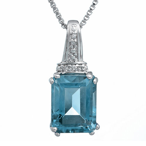 Genuine Topaz and Diamond-Accent 10K White Gold Pendant Necklace