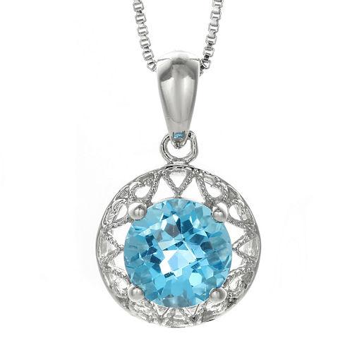 Genuine Blue Topaz Filigree Sterling Silver Pendant Necklace