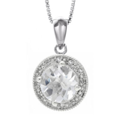 jcpenney.com | Genuine White Topaz and Lab-Created White Sapphire Round Sterling Silver Pendant Necklace