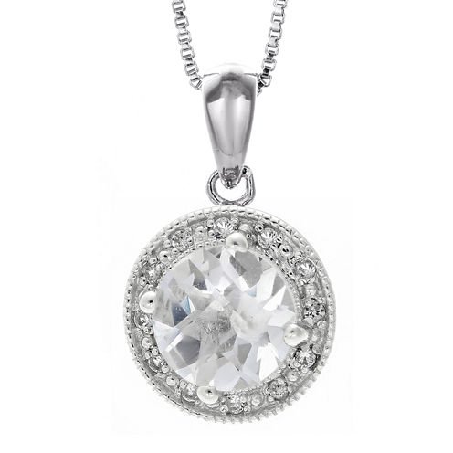 Genuine White Topaz and Lab-Created White Sapphire Round Sterling Silver Pendant Necklace