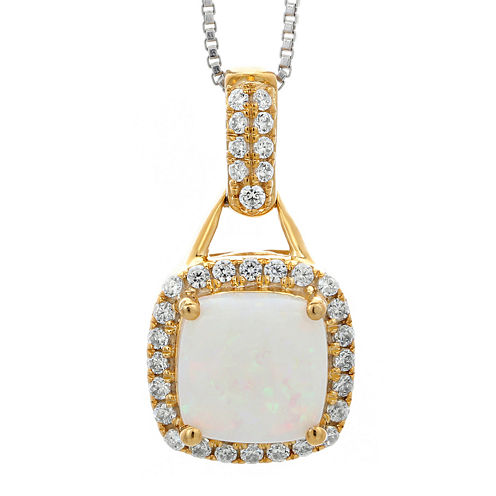 1/5 CT. T.W. Diamond and Lab-Created Opal 10K Yellow Gold Pendant Necklace