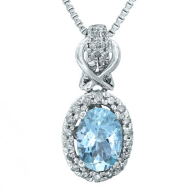 jcpenney.com | 1/7 CT. T.W. Diamond and Genuine Aquamarine 10K White Gold Drop Pendant Necklace