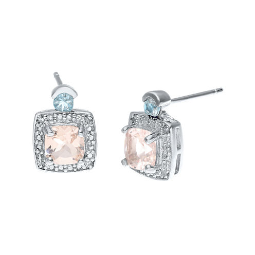 Genuine Morganite, Aquamarine and Diamond-Accent Sterling Silver Earrings